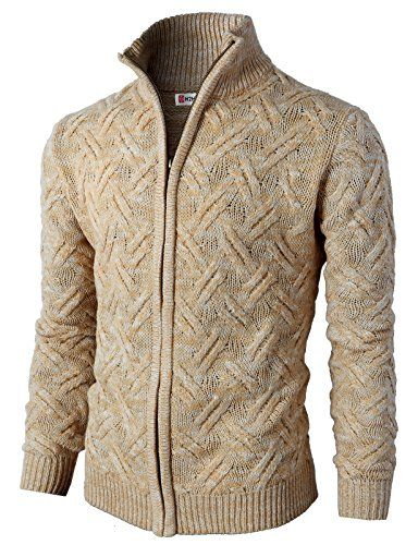 H2H Men Casual Slim Fit Twisted Knitted Zip up Cardigan B...