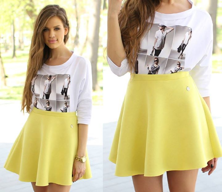 Famevogue street chic outfit with yellow #skirt and a chic #fashion top...:)  #shopping #moda #haine #style #fashion #outfit