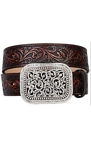 MOM I WANT THIS FOR CHRISTMAS. Ariat® Brown Rhinestone Fillagree Ladies Belt 10006957 | Cavender's Boot City
