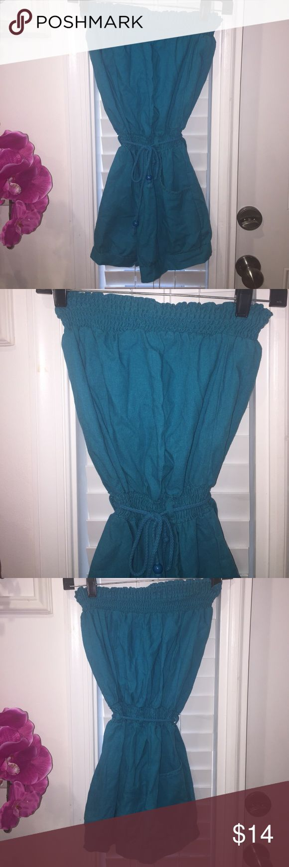 Teal Shorts Strapless Linen Romper, Medium Excellent condition! 👍🏽👍🏽👍🏽 Super Cute for the summer! Save and bundle! 💰 Thanks for stopping by! 💕☺️ Dresses