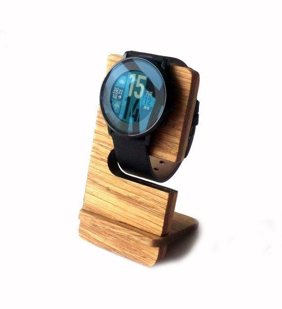 Wooden Pebble Watch Stand Oak Wood Minimalist by MemorableLand