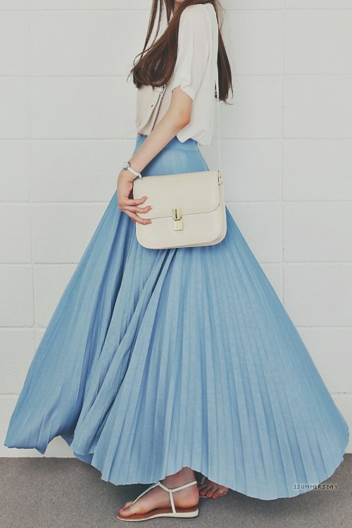 pale blue pleated maxi skirt - loveliness