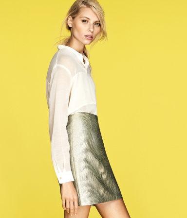 white shirt and metallic skirt