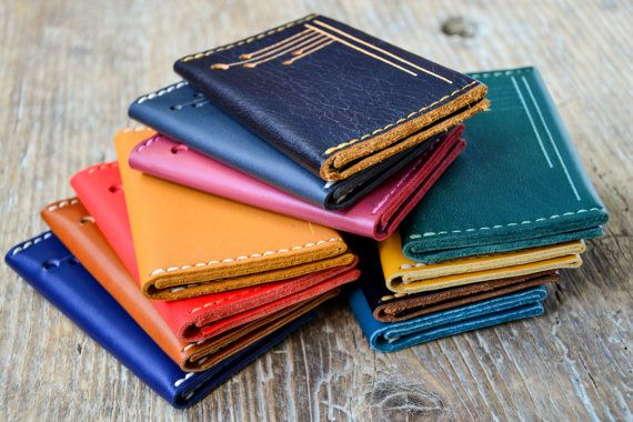 Leather bifold wallet cash card holder hand by ByHandStore on Etsy, $20.00