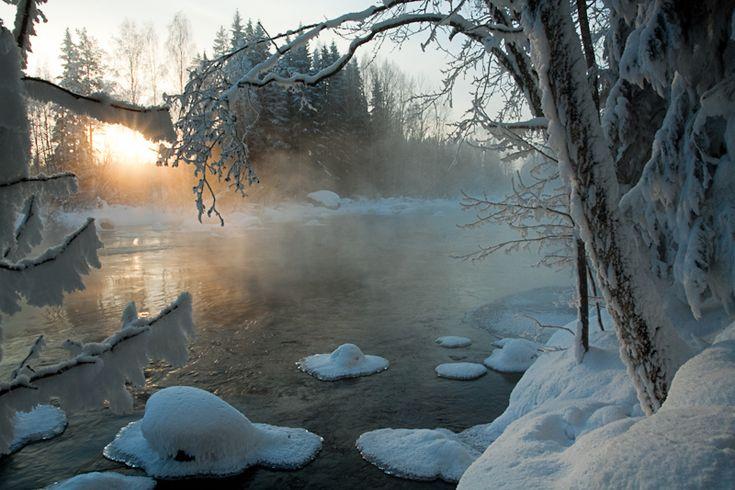 Kapeenkoski Frozen Sunrise - Laukaa, Southern Finland.  Copyright: Jarmo Juntunen  http://www.trekearth.com/gallery/Europe/Finland/South/Southern_Finland/Laukaa/photo1358538.htm#