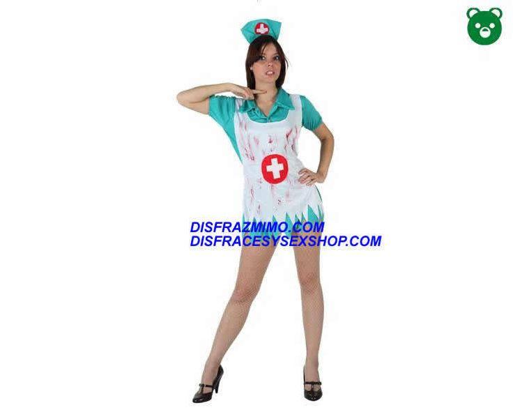 DisfracesMimo, disfraz de enfermera sangrienta de mujer talla xl.El disfraz de enfermera zombi para mujer es ideal para Halloween,El vestido es corto, verde, desgarrado y ensangrentado.Este disfraz es ideal para tus fiestas temáticas de disfraces de enfermeras y miedo para mujer adultos.