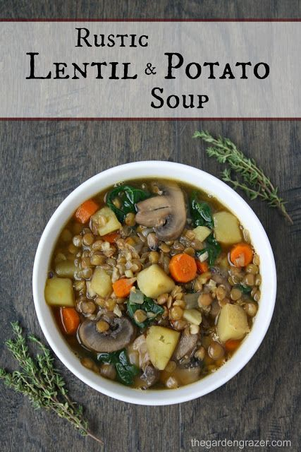 EASY lentil soup with potatoes, mushrooms, carrots, onion, and herbs. Tastes like a vegan version of classic beef stew!! (vegan, gluten-free)