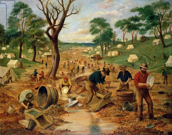 Australian Gold Diggings, c.1855 by Stocqueler, Edwin (1829-c.1880)