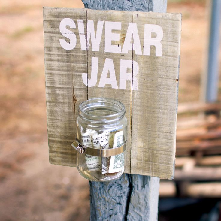 Swear Jar: Have a potty mouth problem? Whether it's grownups or kids slipping up, hold everyone accountable with this fun, decorative swear jar. Hang this painted wooden sign with an affixed Mason-style jar where everyone can pay up. Made of wood, glass and metal. 8'' L x 4'' D x 10'' H.