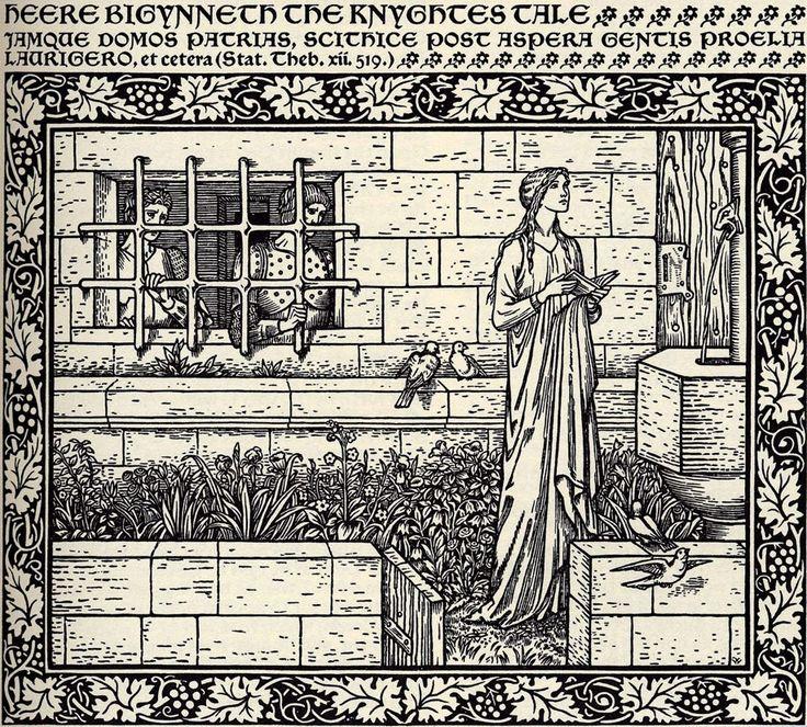 Emilye in the Garden. Edward Burn-Jones. Kelmscott Chaucer. 1896.