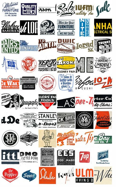 1950′s and 1960′s Retro Catalog & Machinery Logos