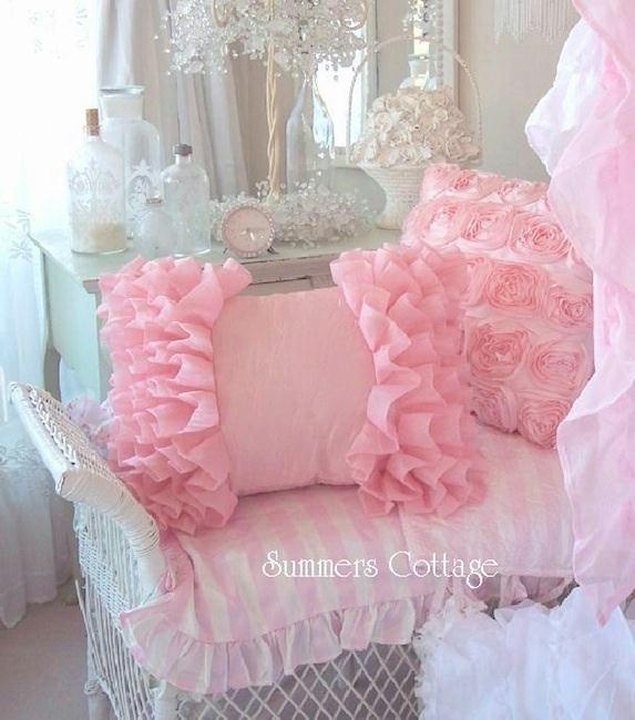Shabby Chic Cottage Pillows : Shabby beach cottage chic peach bahama pink ruffle pillow Girly, Pillows and Pillow talk