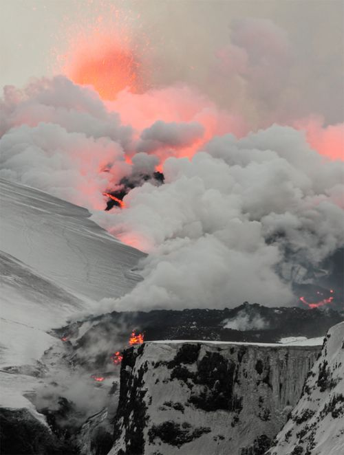 flowing lava vaporizing snow