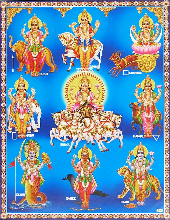 """Navagraha - Nine Planets. All the navagraha have relative movement with respect to the background of fixed stars in the zodiac. This includes the planets: Mars, Mercury, Jupiter, Venus, and Saturn, the Sun, the Moon, as well as positions in the sky, Rahu (north or ascending lunar node) and Ketu (south or descending lunar node). According to some, Grahas are the """"markers of influence"""" that point out the karmic influence on the behavior of living beings."""