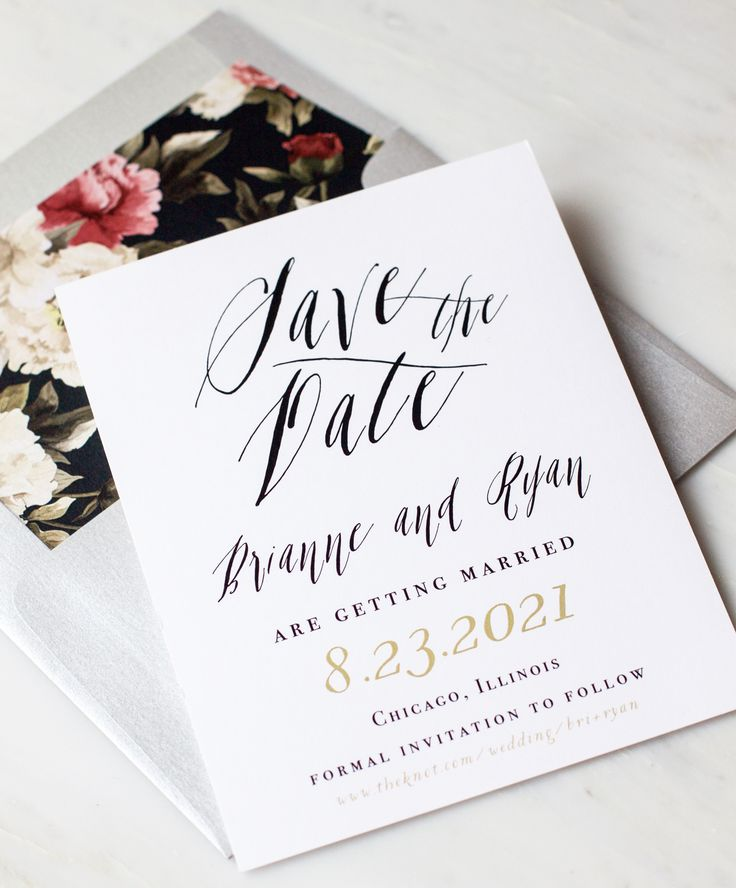 cursive fonts for wedding cards%0A Modern and Elegant Calligraphy Inspired Save The Dates with Floral Envelope  Liners