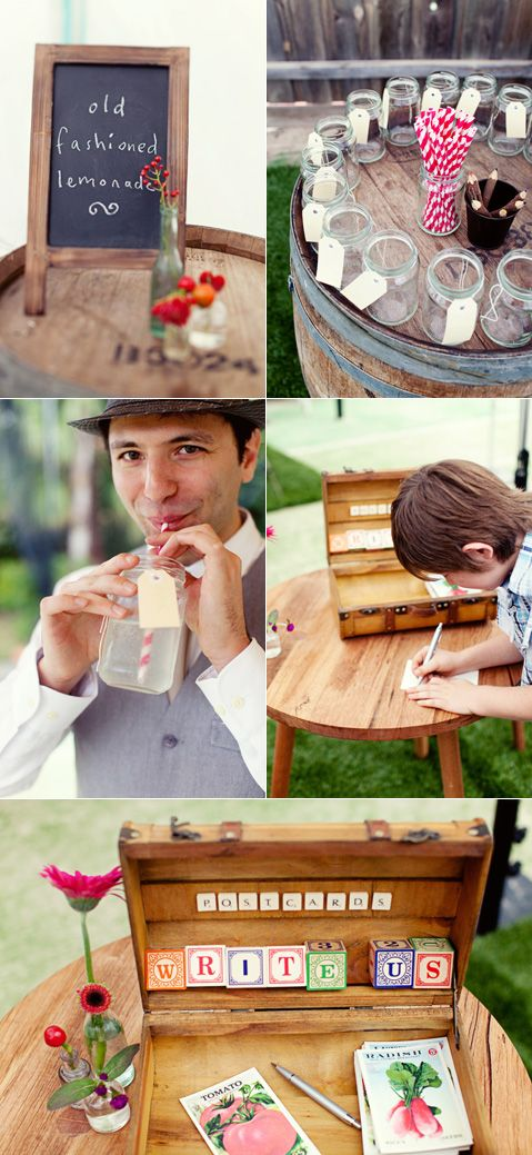 Old fashioned lemonade in jam jars with a tag on the top allowing guests to write their names on the jar and reuse