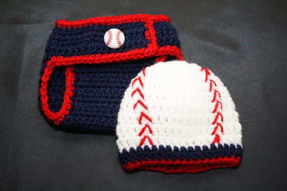 Newborn Boy Crochet Baseball Hat and Diaper Cover