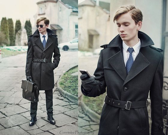 Tommy Hilfiger Leather Gloves, Vistula Tie, Bytom Trench Coat, Wittchen Leather Briefcase