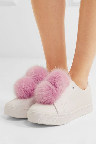 Sole measures approximately 30mm/ 1 inch White leather, pink faux fur Slip on Designer color: White/ Pink Mauve