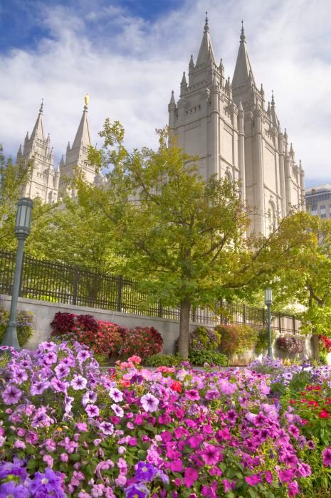 Mormon Temple Square in Downtown Salt Lake City Utah