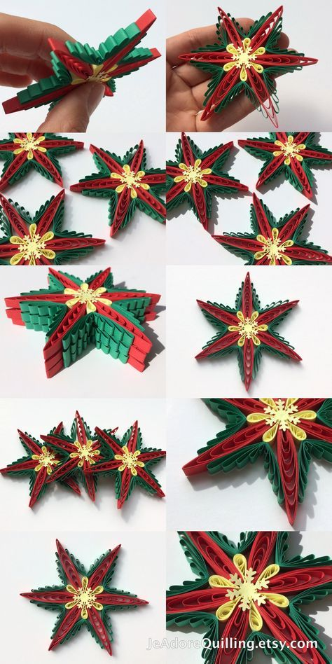 Snowflakes Yellow Red Green Poinsettia Christmas Tree Decoration Winter Ornaments Gifts Toppers Fillers Office Corporate Paper Quilling Art