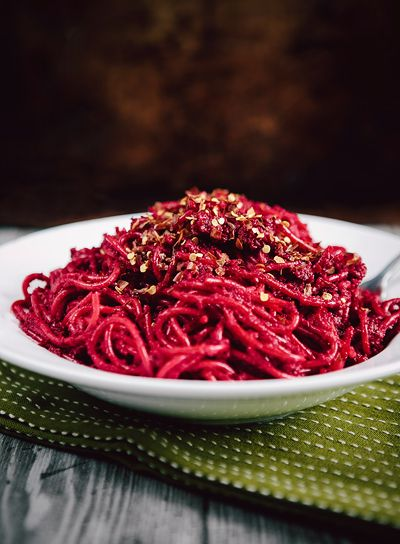 Roasted Beet and Garlic Pasta