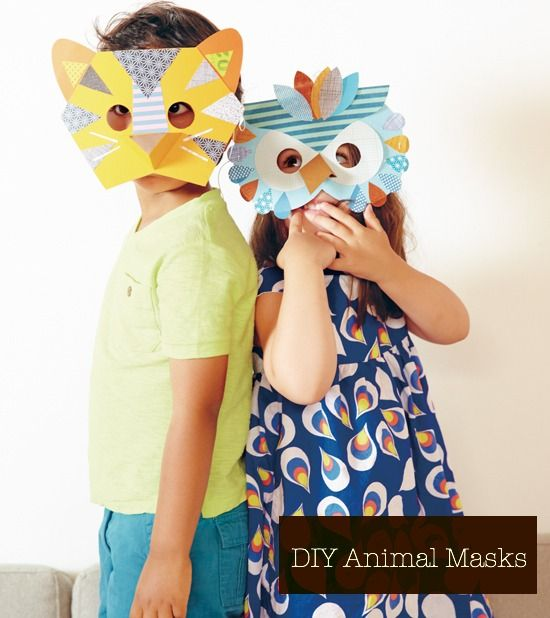 DIY Animal Masks - full instructions and templates for a kid-friendly Halloween craft.