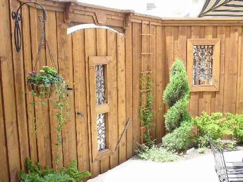 framed metal gate insert surface mounted on privacy panel ...