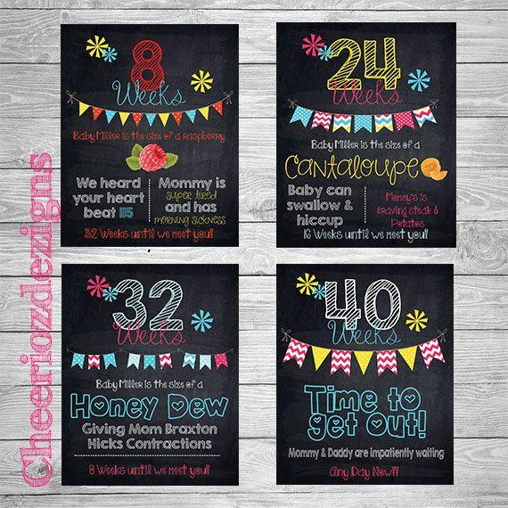 Weekly Pregnancy Chalkboard Sign-Week 8-40 Package Deal 32 Signs- Weekly Prenancy Countdown- 8x10- Customizable