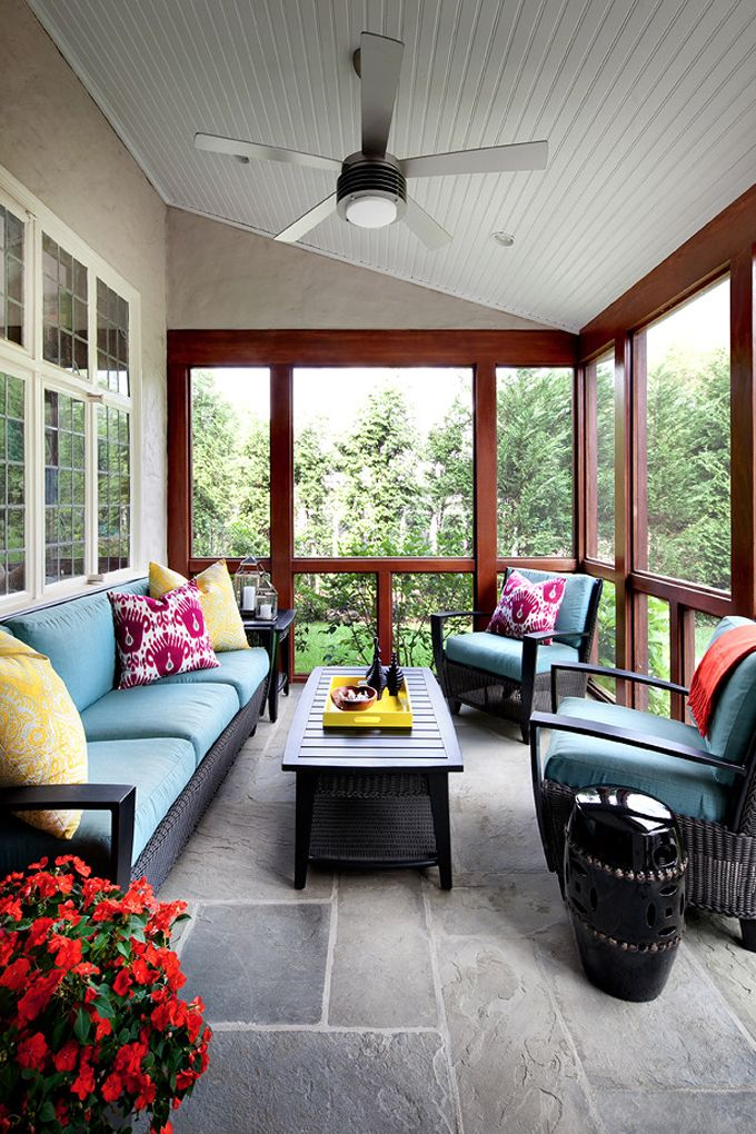 Screen in porch designed by Claire Paquin of Clean Design. Photo by Donna Dotan (via House of Turquoise).