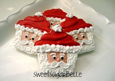 Santa Cookies {looks like using a cupcake cutter!}