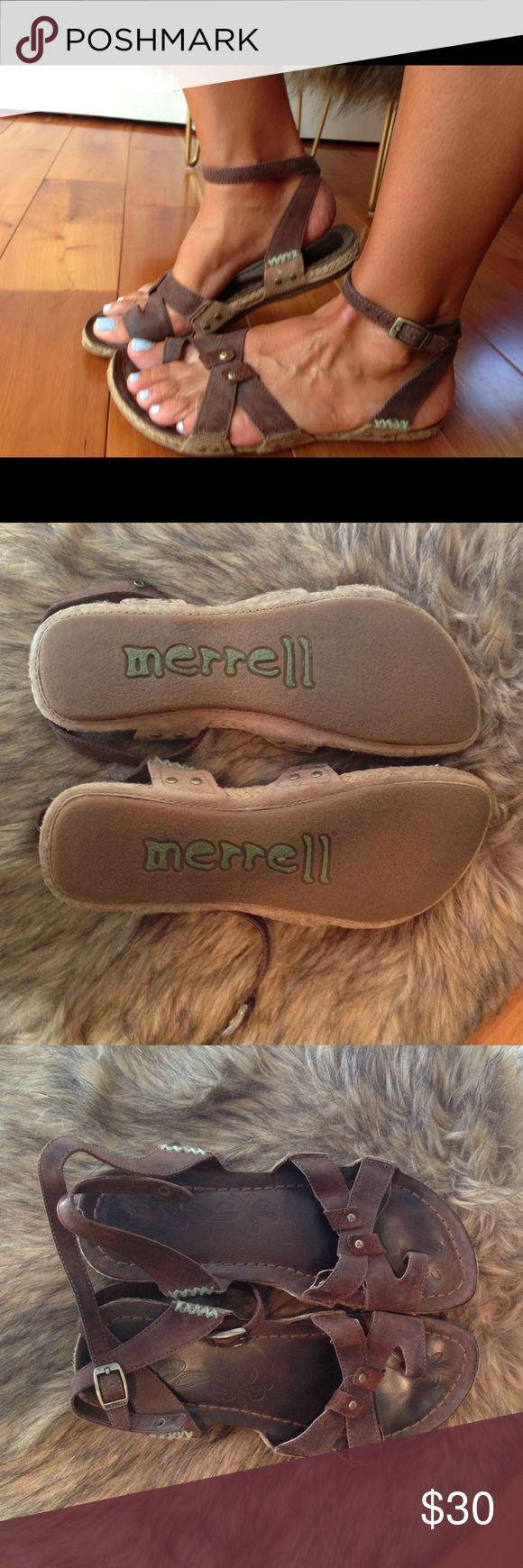 Merrell Sandals Side snap closer, great condition! Comfy cushioning cute blue side stitching Merrell Shoes Sandals
