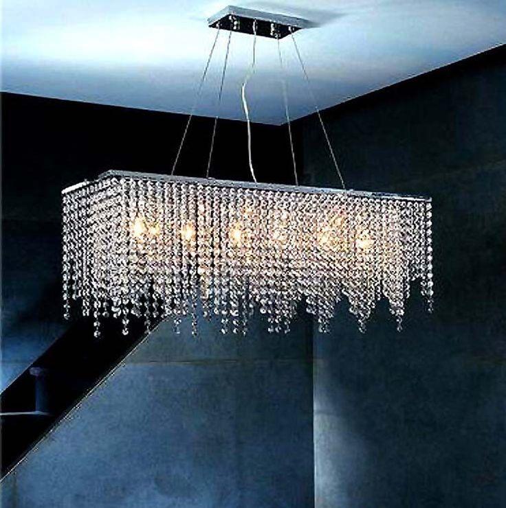 Modern Crystal Chandelier Light For Dining Room Led E14 Chandeliers Square Lamp Rectangle Living