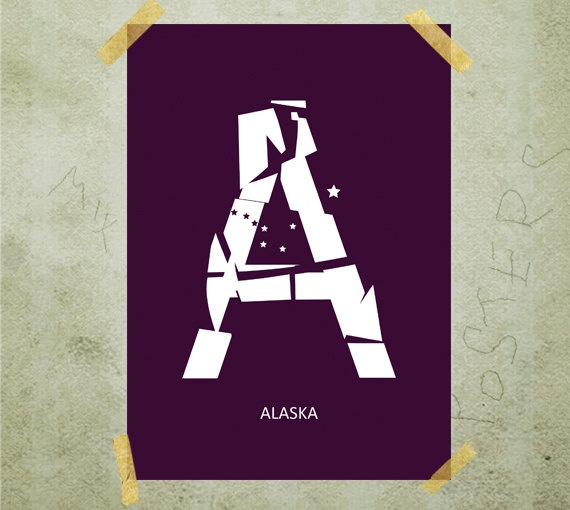 Letter A typography poster print A3 by MixPosters on Etsy, $15.00
