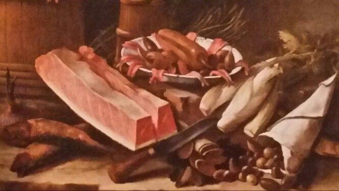 """GIACOMO NANI  ( Porto Ercole 1698 - Napoli 1770 ). ARRINGHE, VENTRESCA , ACCIUGHE, SALAME DI BOTTARGA ,OLIVE, FINOCCHIETTO E PEPERONI. olio su tela. 62 × 76 cm. Signed """" Giacomo Nani f."""" sul cartiglio in alto a sinistra. Collezione Privata."""