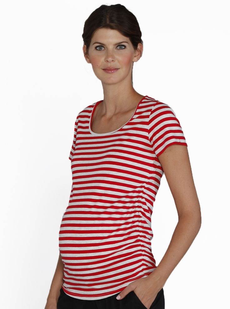 Body Hugging Stretchy Maternity Tee in Red Stripes, $34.95, has beautiful side gathers for your blossoming belly and is long enough to see you throughout your entire pregnancy.