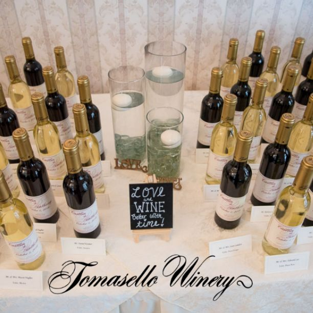 Love & Wine...better with time!  Tomasello Winery also offers Custom Wine Favors & Labels for your wedding or special event.   Photo Courtesy:  KGM Expressions