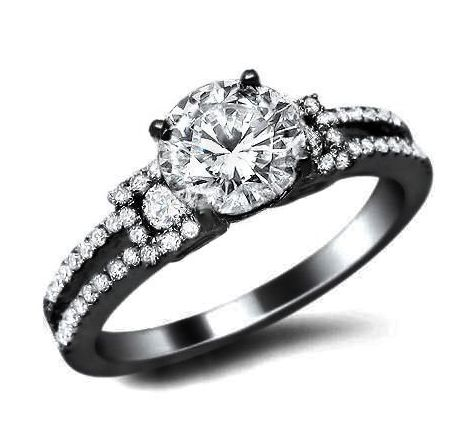 1.03ct Round Diamond Engagement Ring 18K #Black #Gold Certified With a 0.55ct Center White Diamond and 0.48ct of Surrounding Diamonds $1,850.00