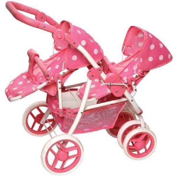 Baby Doll Stroller Double Reversible With Basket Swivel Wheels Pram Twin Girls #BadgerBasket