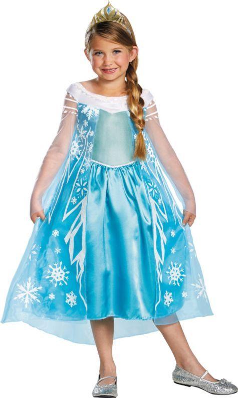 Girls Elsa Costume Deluxe - Frozen - Party City