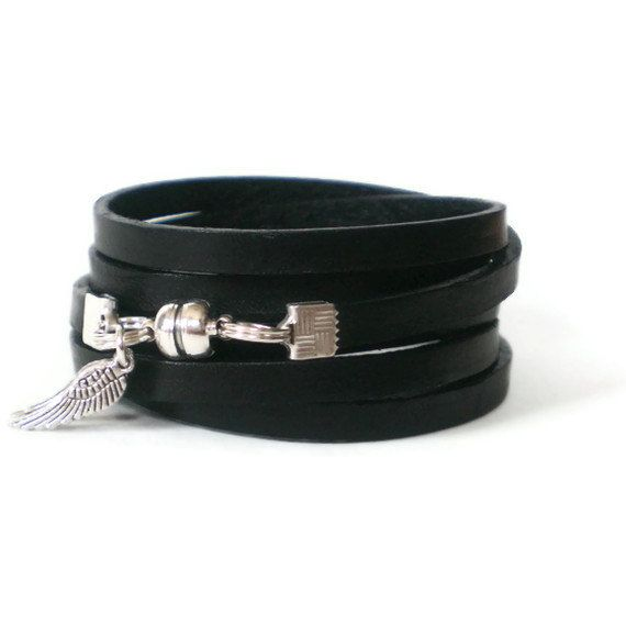 black leather wrap bracelet unisex silver angel by jcudesigns, £13.00
