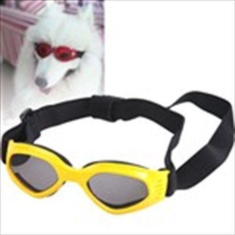 Fashionable Anti-ultraviolet Sunglasses with Elastic Strap for Dogs Pets - Yellow
