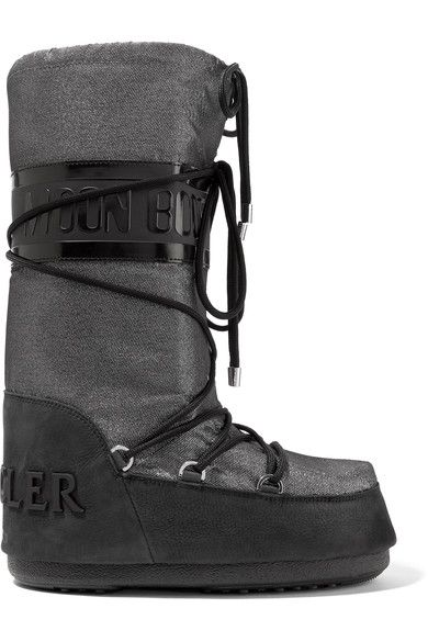 Moncler - Moon Boot Saturne Metallic Shell And Nubuck Snow Boots - Silver