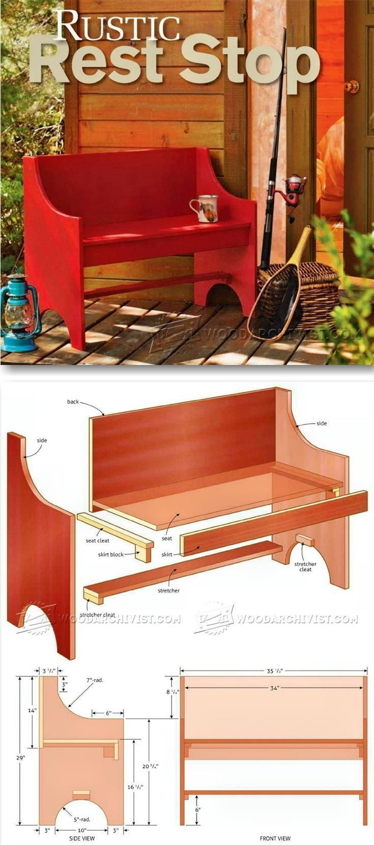 Home gt cedar adirondack wisconsin chairs with personalized laser - Rustic Bench Plans Outdoor Furniture Plans And Projects Woodarchivist Com