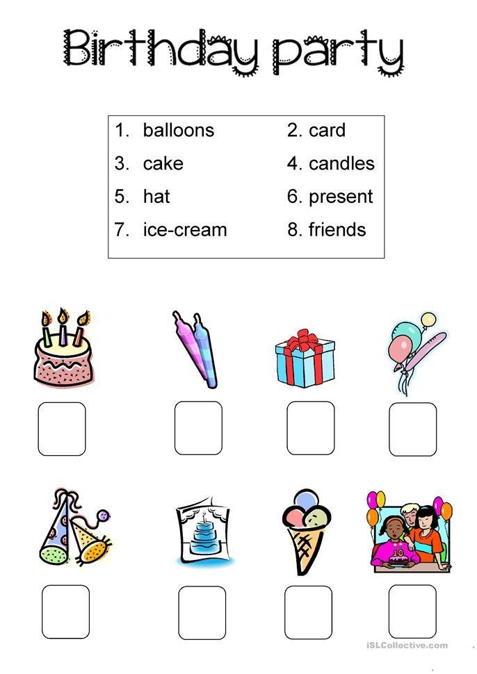 Birthday Party Simple Worksheet Com Imagens Atividades Em