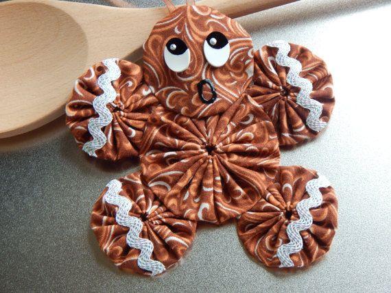 Gingerbread Yo Yo Ornament Gingerbread Cookie GB33 by SursyShop