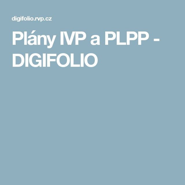 Plány IVP a PLPP - DIGIFOLIO