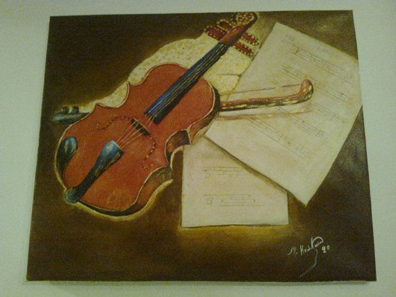 Oil on canvas original painting music theme violin by Lionsoul, €210.00