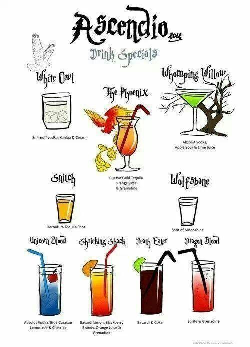Harry Potter drink menu!  :)