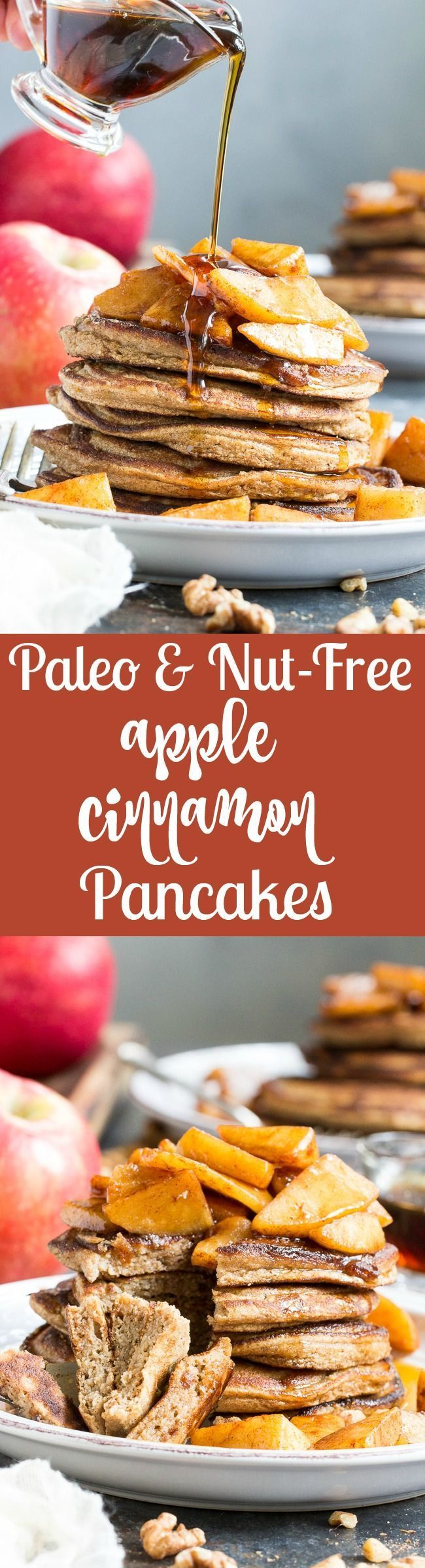 These Apple Cinnamon Paleo Pancakes combine a sweet, soft, perfectly fluffy coconut flour based pancake with a gooey cinnamon apple topping – yum!   One batch will feed the whole family and keep everyone warm and happy for breakfast on a cool fall morning.  Gluten free, dairy free, refined sugar free, nut free.